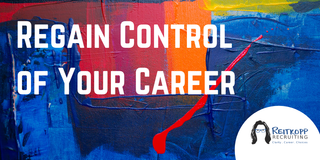 "Abstract art with ""regain control of your career"" as text"