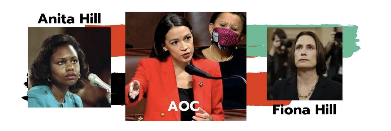 Banner image featuring Anita Hill, Alexandria Ocasia-Cortez, and Fiona Hill