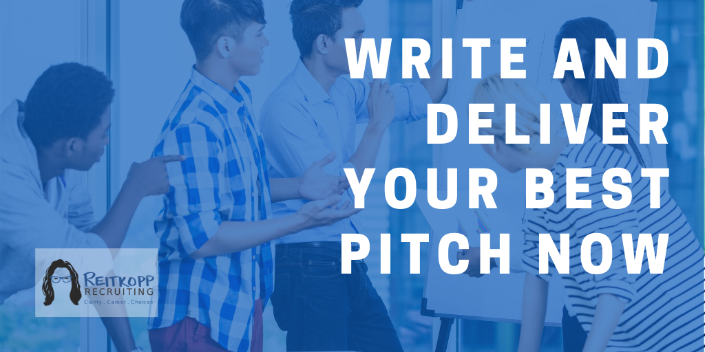 "Image of group using a white board with text overlay that reads ""write and deliver your best pitch now"""