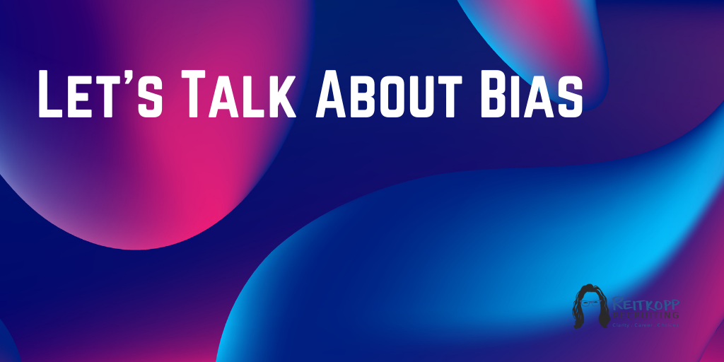 "Abstract art with words that read ""Let's Talk About Bias"""